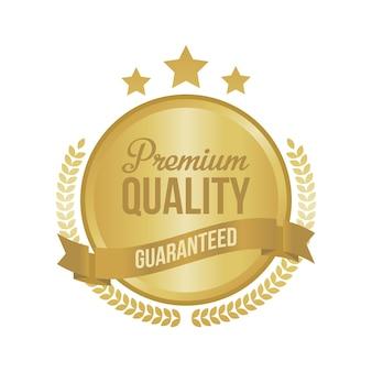 Vektor garantiertes erstklassiges qualitätsgoldzeichen, runder aufkleber