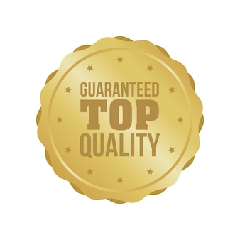 Vektor garantiertes hochwertiges goldzeichen, runder aufkleber