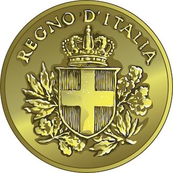 Vektor geld gold italienische münze zwanzig centesimo