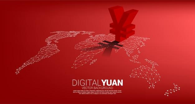 Vektor geld yuan währungssymbol 3d mit schatten auf weltkarte punktlinie polygon. konzept für china financial und banking.