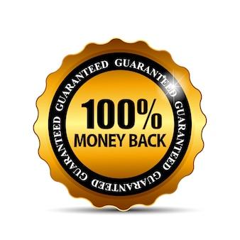 Vektor-geld-zurück-garantie-gold-zeichen, etikett
