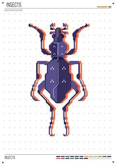 Vektor geometrische wanze oder käfer. insekt auf plakathintergrund