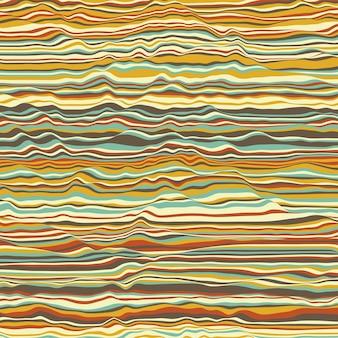 Vektor gestreifter hintergrund. abstrakte farbwellen. schallwellenschwingung. funky gekräuselte linien. elegante wellige textur. oberflächenverzerrung. bunter hintergrund.