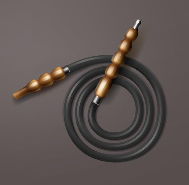 Vektor gewickelte shisha-schlauch mit brauner hölzerner mundstück-draufsicht lokalisiert auf dunklem hintergrund
