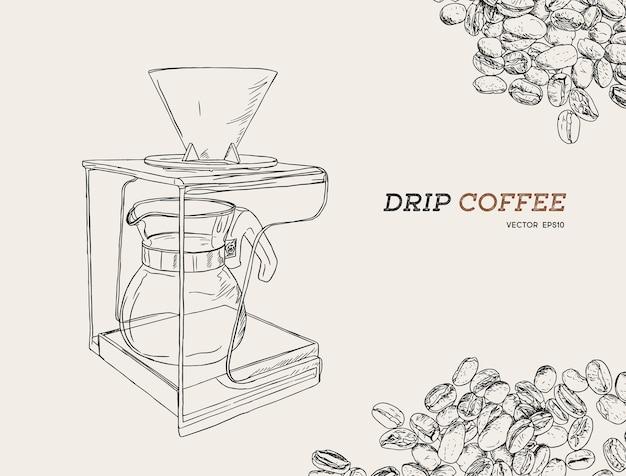 Vektor gießen über kaffeemaschine illustration.
