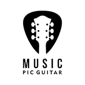 Vektor-gitarren-pic-logo-vorlage einfaches design