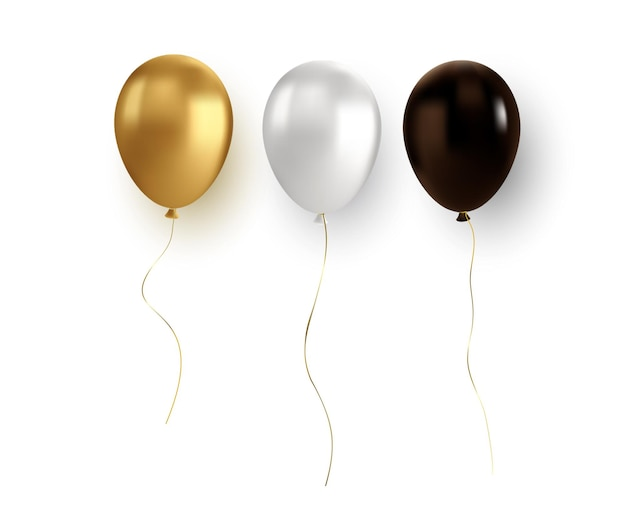 Vektor glänzender realistischer goldballon auf transparentem hintergrund