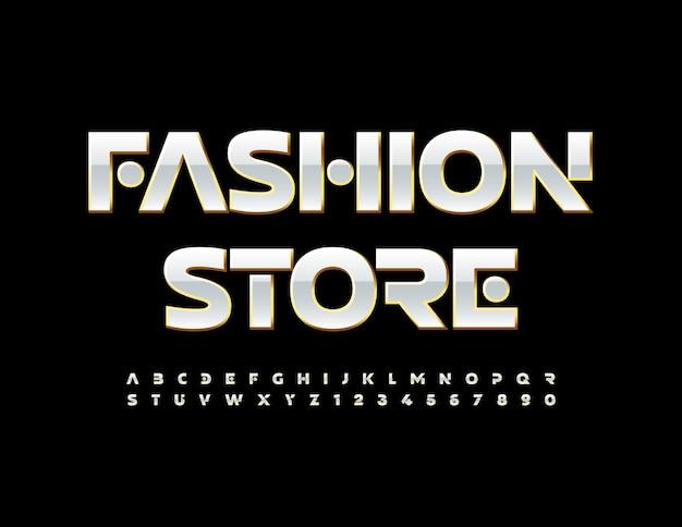 Vektor-glamour-logo fashion store gold und weiß schicke schriftart elite alphabet buchstaben und zahlen gesetzt