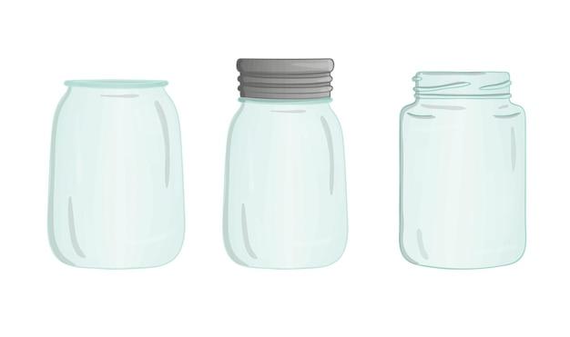 Vektor-glas-icon-set. niedliche topfaquarell-stilillustration. leercontainersammlung