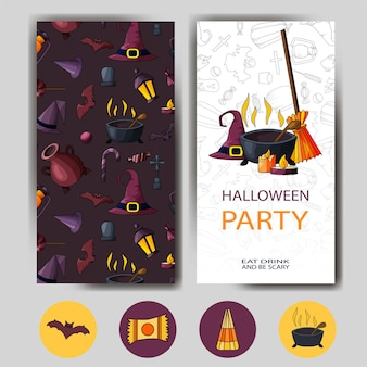 Vektor glückliche halloween-karte. design für urlaubsplakat. einladungsvorlage für partys.