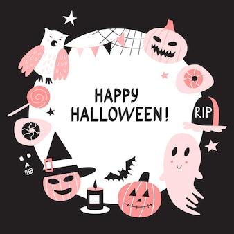 Vektor glücklicher halloween-runder rahmenhintergrund mit netten charakteren.
