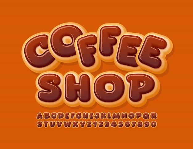 Vektor glückliches logo coffee shop mit schokoladenglasierter schrift. donut alphabet buchstaben und zahlen