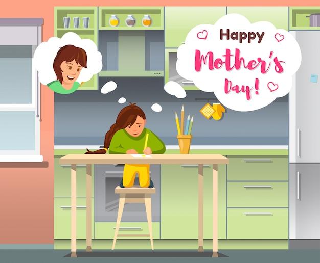 Vektor-glückliches mutter-tagesmädchen, das an mamma denkt.
