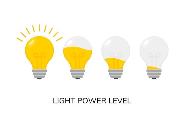 Vektor-glühbirne leistungsstufensymbol isoliert. lichtlampe symbol elektrisches konzept.