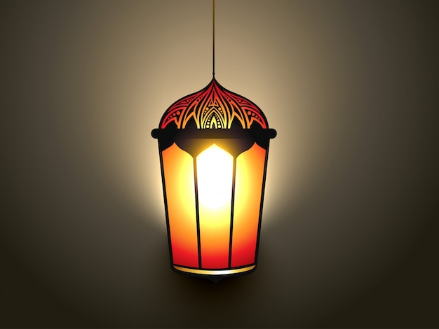 Vektor glühende islamische lampe design