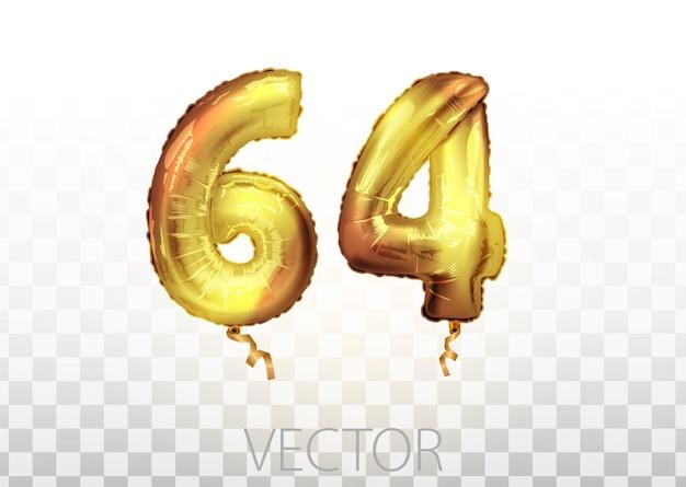 Vektor goldene folie nummer 64 vierundsechzig metallischen ballon. partydekoration goldene ballons. jubiläumszeichen für frohe feiertage, feiern, geburtstag, karneval, neujahr. kunst
