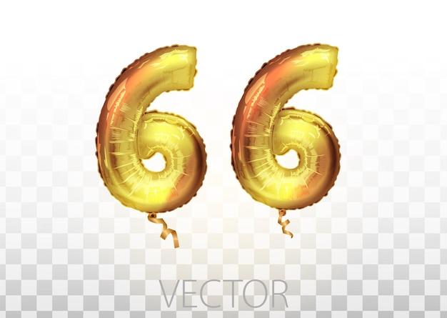 Vektor goldene folie nummer 66 sechsundsechzig metallischer ballon. partydekoration goldene ballons. jubiläumszeichen für frohe feiertage, feiern, geburtstage