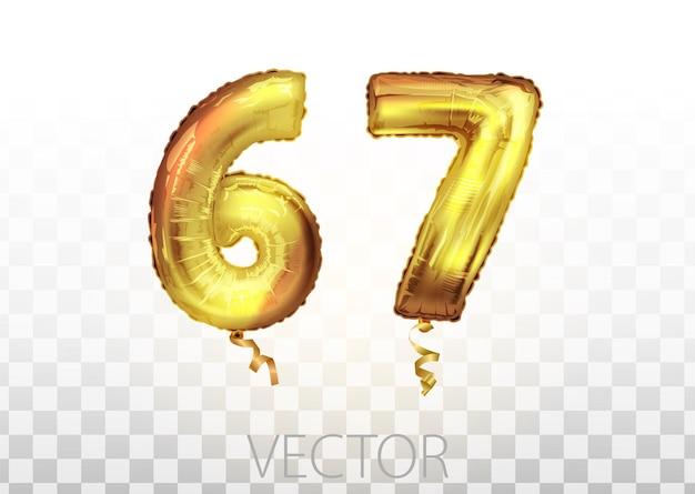 Vektor goldene folie nummer 67 siebenundsechzig metallischen ballon. partydekoration goldene ballons. jubiläumszeichen für frohe feiertage, feiern, geburtstage