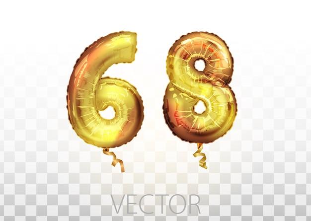 Vektor goldene folie nummer 68 68 metallischer ballon. partydekoration goldene ballons. jubiläumszeichen für frohe feiertage, feiern, geburtstage