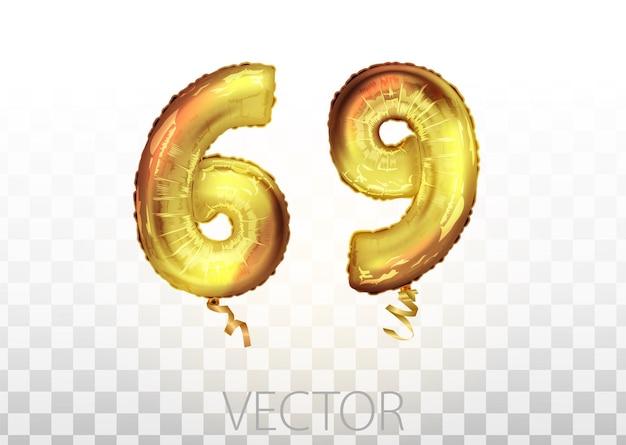 Vektor goldene folie nummer 69 neunundsechzig metallischen ballon. partydekoration goldene ballons. jubiläumszeichen für frohe feiertage, feiern, geburtstage