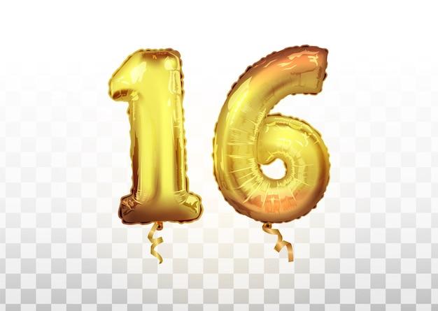 Vektor goldene nummer 16 sechzehn metallischer ballon. partydekoration goldene ballons. jubiläumszeichen für frohe feiertage, feiern, geburtstag, karneval, neujahr