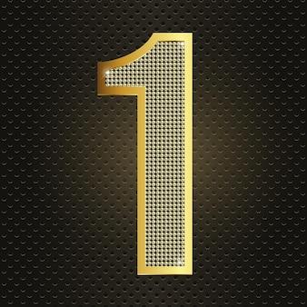 Vektor goldene nummer eins 1 erstes jahr jubiläumsfeier realistische leuchtende ikone zum geburtstag
