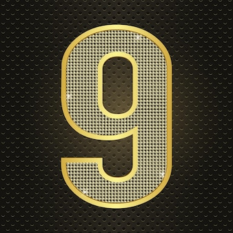 Vektor goldene zahl neun 9 neun jahre jubiläumsfeier realistische leuchtende geburtstagsikone