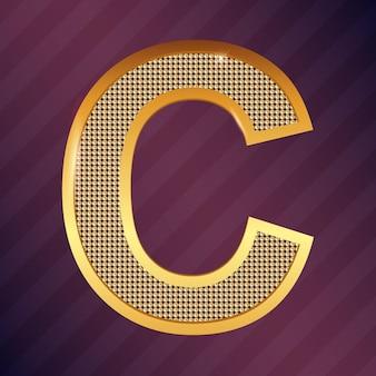 Vektor goldener buchstabe c metallisches symbol oder logo