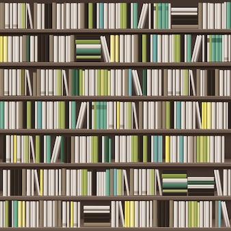 Vektor große bibliothek bücherregal hintergrund voll von verschiedenen weißen, gelben, grünen und braunen büchern