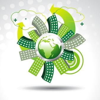 Vektor grüne erde mit gebäuden