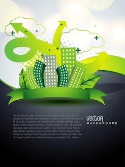 Vektor grüne stadt konzept kunst