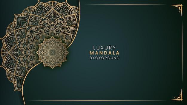 Vektor grüner luxus-mandala-hintergrund