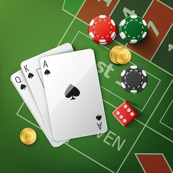 Vektor grüner pokertisch mit spielkarten, roten würfeln, goldmünzen und stapeln von kasinochips draufsicht