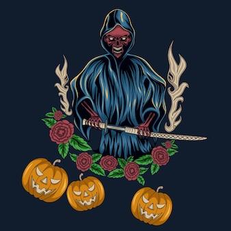 Vektor-gruseliger halloween-mann mit samurai-schwert