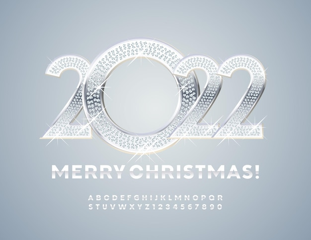 Vektor-grußkarte frohe weihnachten 2022 brillante dekoration silber alphabet buchstaben und zahlen