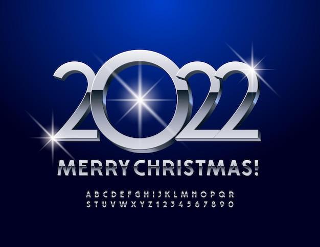 Vektor-grußkarte frohe weihnachten 2022 chrome 3d font modern alphabet buchstaben und zahlen set