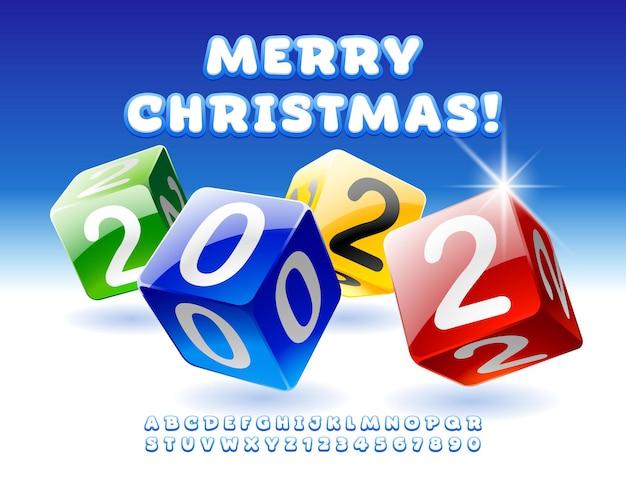 Vektor-grußkarte frohe weihnachten 2022 dekorative helle würfel alphabet buchstaben und zahlen gesetzt