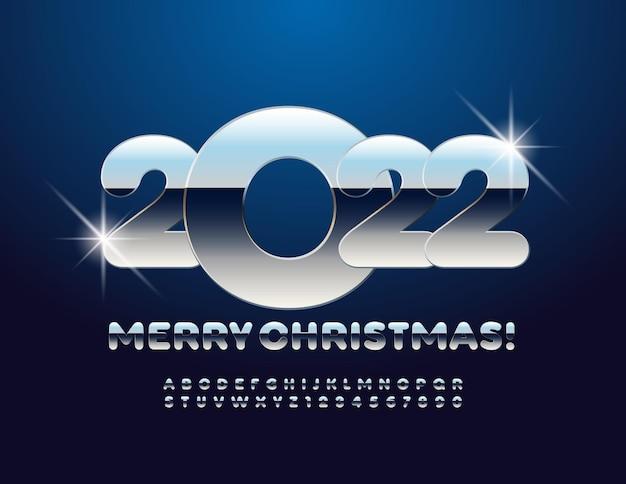 Vektor-grußkarte frohe weihnachten 2022 fett platin schrift stahl alphabet buchstaben und zahlen