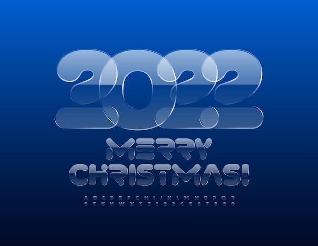 Vektor-grußkarte frohe weihnachten 2022 kristallglas schriftart iced alphabet buchstaben und zahlen