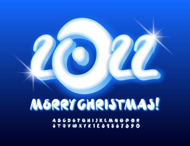 Vektor-grußkarte frohe weihnachten 2022 künstlerischer stil leuchtende alphabet buchstaben und zahlen