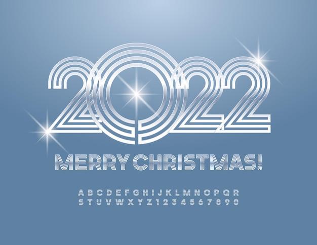 Vektor-grußkarte frohe weihnachten 2022 silber labyrinth schriftart glänzende alphabet buchstaben und zahlen set