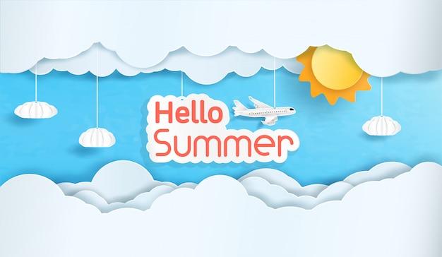 Vektor hallo sommer und der himmel mit vielen wolken.