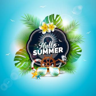 Vektor-hallo sommerferien-illustration mit tropischen blättern