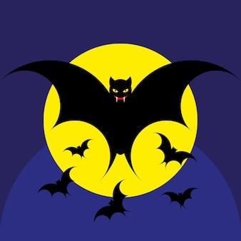 Vektor-halloween-hintergrund mit illustration von fliegenden fledermäusen über mond