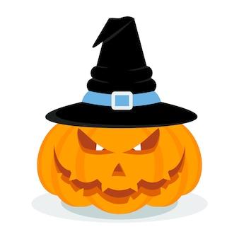 Vektor-halloween-kürbis in einem hexenhut. halloween-party-plakat. halloween-symbol. gestaltungselemente für werbung und verkaufsförderung. flache karikaturillustration. objekte isoliert auf weißem hintergrund.
