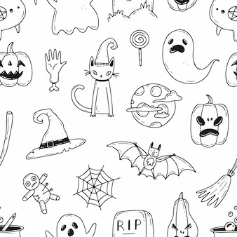 Vektor halloween nahtlose schwarz-weiß-muster mit cartoon-doodle-stil-elementen