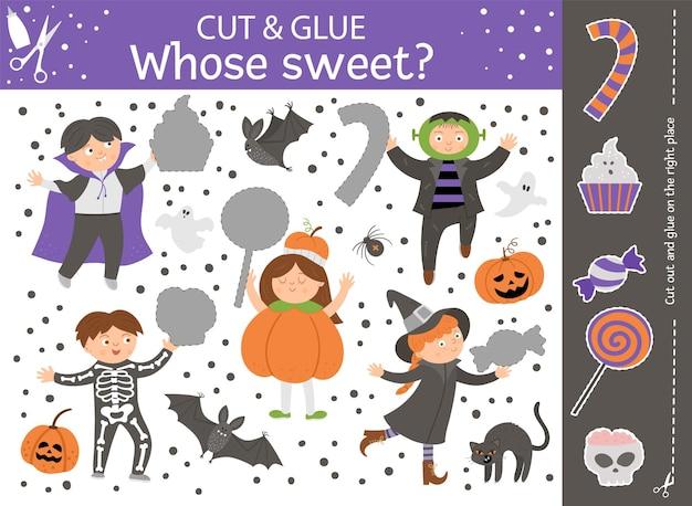 Vektor-halloween-schnitt- und klebeaktivität. herbstliches bastelspiel mit süßen kindern in gruseligen kostümen und süßes oder saures. lustige aktivität für kinder. was fehlt auf dem bild?