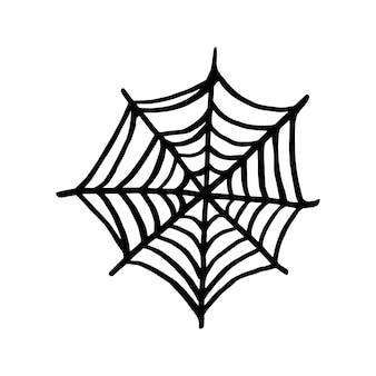 Vektor-halloween-spinnennetz-clipart. lustige, süße illustration für saisonales design, textilien, dekorationskinderspielzimmer oder grußkarten. handgezeichnete drucke und gekritzel.