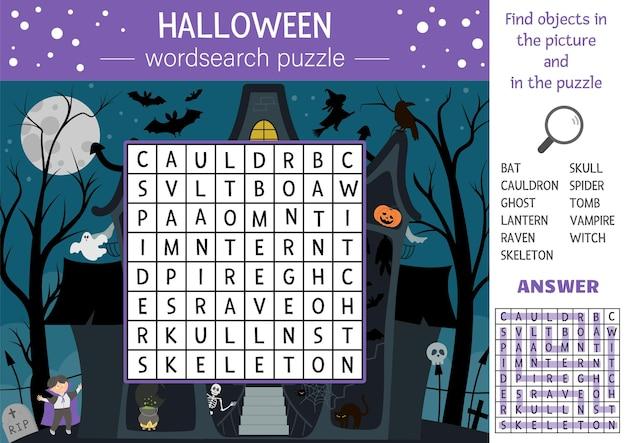 Vektor-halloween-wortsuchrätsel für kinder. einfaches kreuzworträtsel mit spukhaus und traditionellen gruselobjekten für kinder. pädagogische keyword-aktivität mit lustiger hexe, vampir, geist, fledermaus