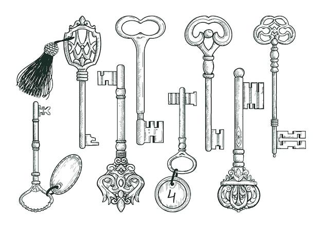Vektor hand gezeichnete antike schlüssel.